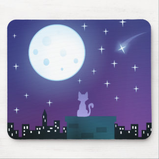 Cat Under the Moonlight Mouse Pad