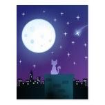 Cat Under the Moonlight Postcard