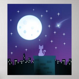 Cat Under The Moonlight Poster