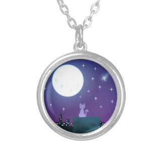 Cat Under the Moonlight Silver Plated Necklace