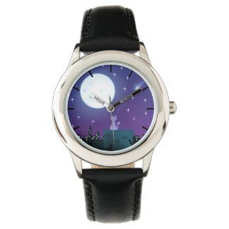 Cat Under The Moonlight Wrist Watch