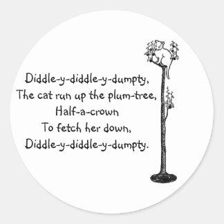 Cat Up the Plum Tree Nursery Rhyme Classic Round Sticker