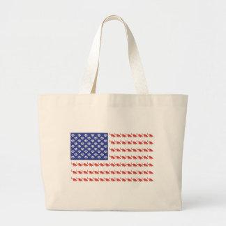 Cat/USA patriótico Bolsa Tela Grande