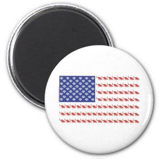 Cat/USA patriótico Imán De Nevera