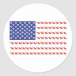 Cat/USA patriótico Pegatina Redonda