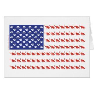 Cat/USA patriótico Tarjeta De Felicitación