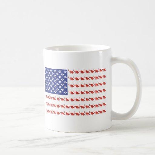 Cat/USA patriótico Tazas De Café