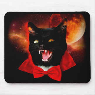 cat vampire - black cat - funny cats mouse pad