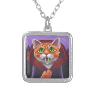 Cat Vampire Orange Tabby Silver Plated Necklace