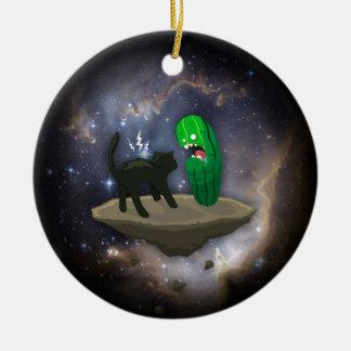 Cat versus Cucumber Ceramic Ornament
