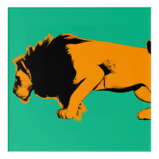 Cat Versus Lion Ready to Fight or Take On Acrylic Wall Art
