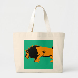 Cat Versus Lion Ready to Fight or Take On Large Tote Bag