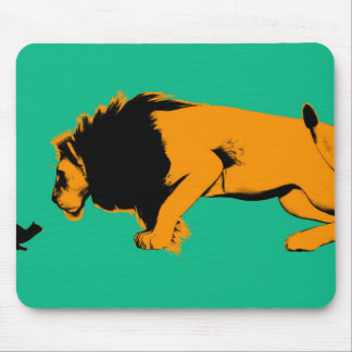 Cat Versus Lion Ready to Fight or Take On Mouse Pad