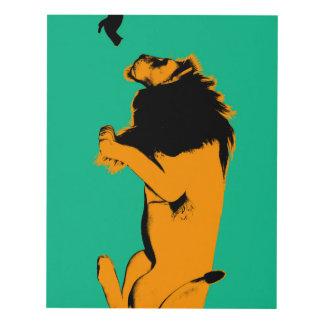 Cat Versus Lion Ready to Fight or Take On Panel Wall Art