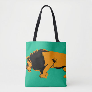 Cat Versus Lion Ready to Fight or Take On Tote Bag