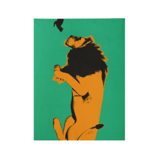 Cat Versus Lion Ready to Fight or Take On Wood Poster