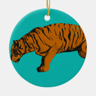 Cat Versus Tiger Ready to Fight or Take On Ceramic Ornament