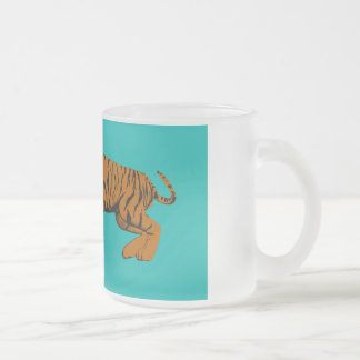 Cat Versus Tiger Ready to Fight or Take On Frosted Glass Coffee Mug