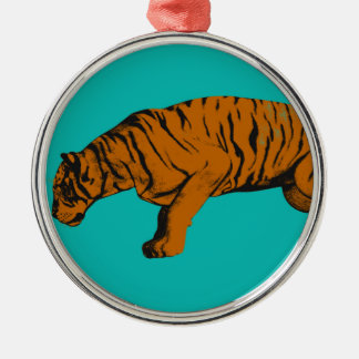 Cat Versus Tiger Ready to Fight or Take On Metal Ornament