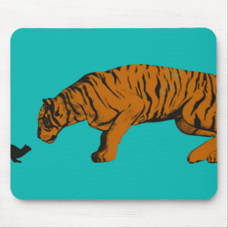 Cat Versus Tiger Ready to Fight or Take On Mouse Pad