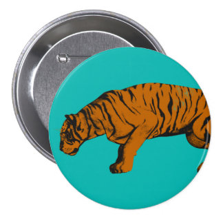 Cat Versus Tiger Ready to Fight or Take On Pinback Button