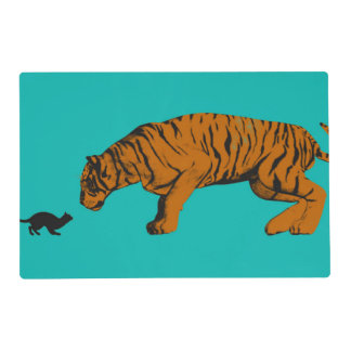 Cat Versus Tiger Ready to Fight or Take On Placemat