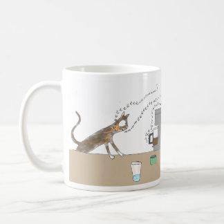 Cat vs Coffee Maker Classic White Coffee Mug