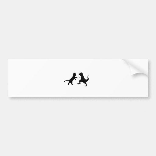 cat vs t-rex bumper stickers