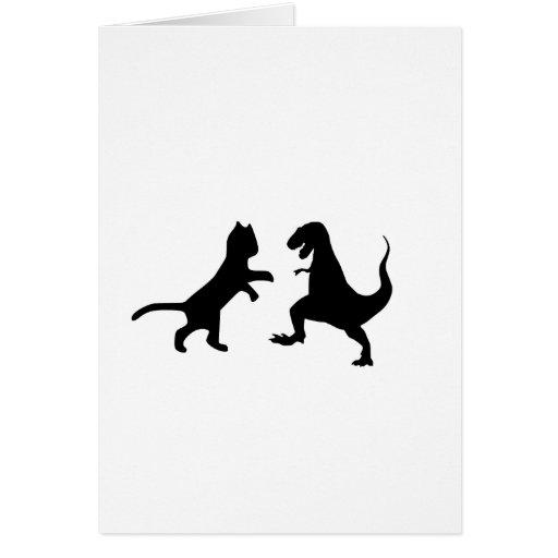 cat vs t-rex card