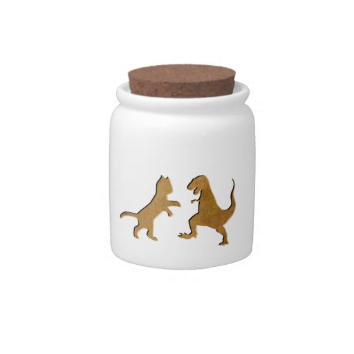 CAT VS T-REX VINTAGE TEXTURE CANDY JARS