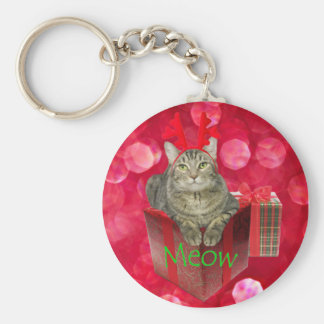 Cat Waiting for Santa Basic Round Button Keychain