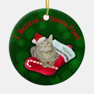 Cat Waiting for Santa Ceramic Ornament