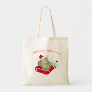 Cat Waiting for Santa Tote Bag