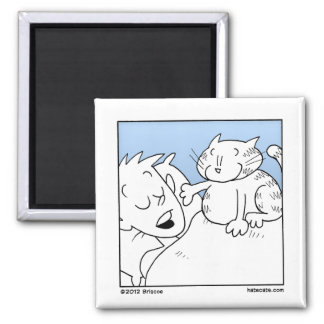 Cat Wake Up Call 2 Inch Square Magnet