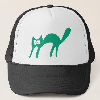 Cat Walking About Green Hello Eyes Trucker Hat