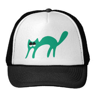 Cat Walking About Green Hi Eyes Trucker Hat