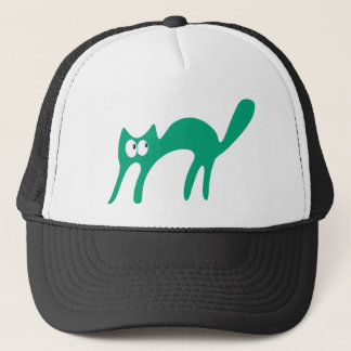 Cat Walking About Green Look Up There Eyes Trucker Hat