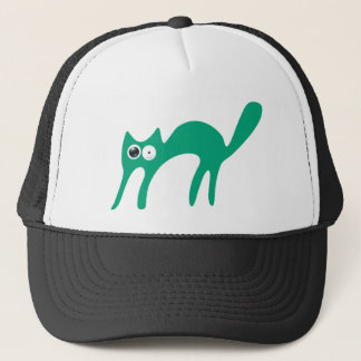 Cat Walking About Green Stunned Eyes Trucker Hat