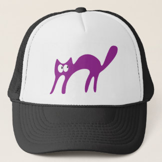 Cat Walking About Purple Look Up There Eyes Trucker Hat