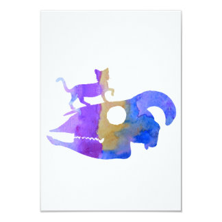 Cat walking on a goat skull card