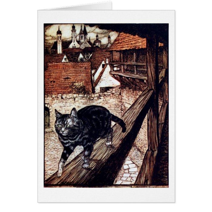 Cat walking on a railing card