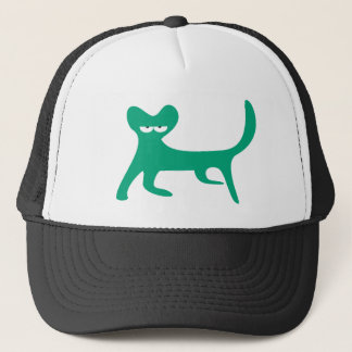 Cat Walking Sideways Green Yeah Right Eyes Trucker Hat