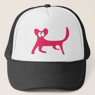 Cat Walking Sideways Pink Look Up There Eyes Trucker Hat