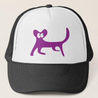 Cat Walking Sideways Purple Look Up There Eyes Trucker Hat