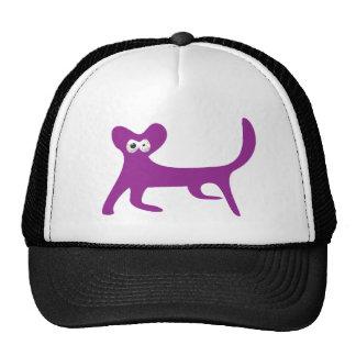 Cat Walking Sideways Purple Manic Bloodshot Eyes Trucker Hat