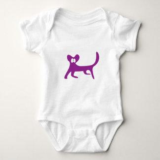 Cat Walking Sideways Purple Wtf Eyes Baby Bodysuit