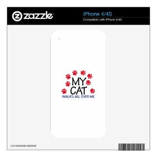 Cat Walks Paws iPhone 4 Decals