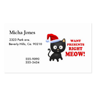 Cat Wants Christmas Presents Right Meow Business Card