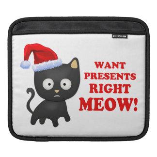 Cat Wants Christmas Presents Right Meow iPad Sleeve