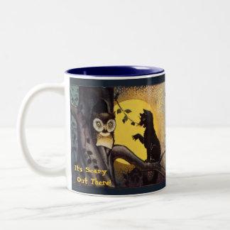 Cat Warning Owl Halloween Coffee Mug
